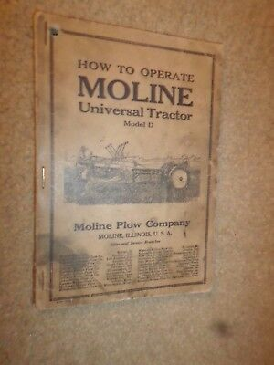 """1919 Moline Plow Co. """"Moline-Universal Model 'D' Tractor"""" Owner's Manual"""
