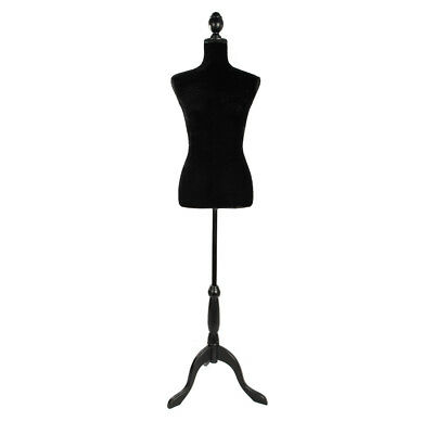 Female Mannequin Torso Dress Clothing Form Display Tripod Stand Black Foam