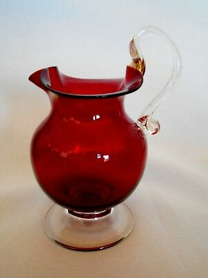 Vintage Ruby Red Hand Blown Glass Ewer/Pitcher w/Applied Handle - Rough Pontil