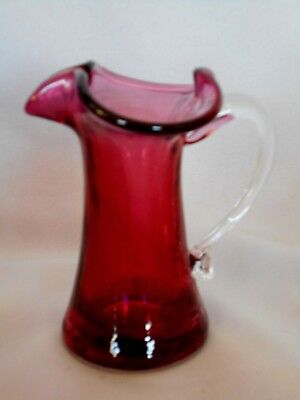 Vintage Cranberry Red Hand Blown Art Glass Ewer/Pitcher w/Applied Handle