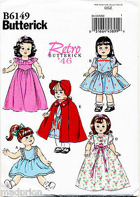 """BUTTERICK SEWING PATTERN 6149 18"""" RETRO VINTAGE '40s DOLL CLOTHES, DRESSES CAPE"""