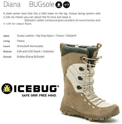 NEW Icebug Diana Bugsole Womens Winter Ice Snow Boots Shoes Msrp$190