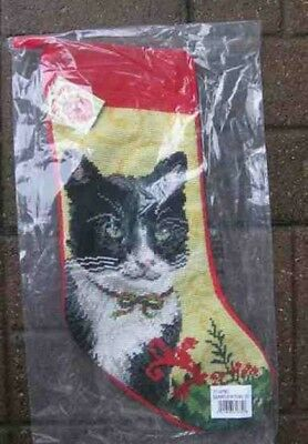 Cat Needlepoint B/W TUXEDO CAT Large Christmas Stocking NICE Quality