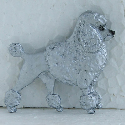 Poodle White Resin Brooch Classic Cut Dog Breed Jewellery Handpainted