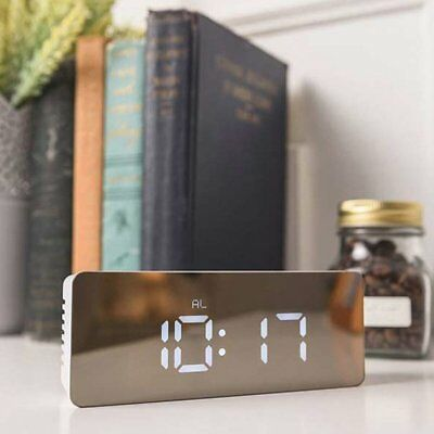 Mirror LED Alarm Clock Night Lights Thermometer Digital Wall Clock LED Lamp GIFT