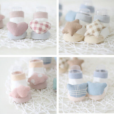 0-12 Months Infants Baby boys Girls Cotton Socks Art Doll Socks 2 Pairs