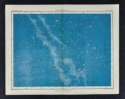 1855 Johnston Astronomy Star Map 4 North Constellations Milky Way Hercules