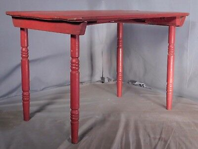 Antique RED PAINT folding Wood Springs Table Cute Small Size Distressed Country