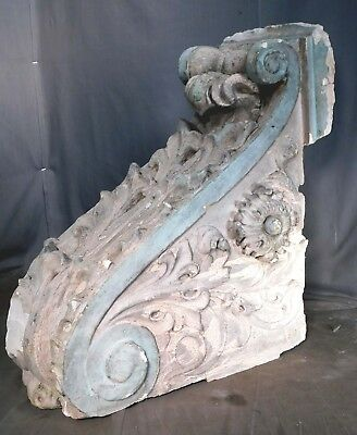 Antique Neoclassical Architectural Element Fragment BIG Bracket Corbel OLD PAINT