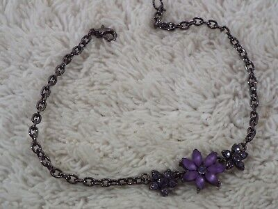 Gunmetal Purple Flower ANKLET Bracelet (C40)