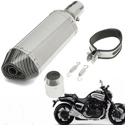 Carbon Fiber Universal Motorcycle Slip-On Exhaust Muffler Silencer Pipe 38-51mm