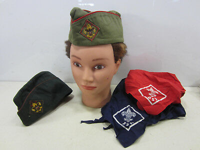 2 Vintage Boy Scout Garrison Caps w/Patches & 2 Neckerchiefs