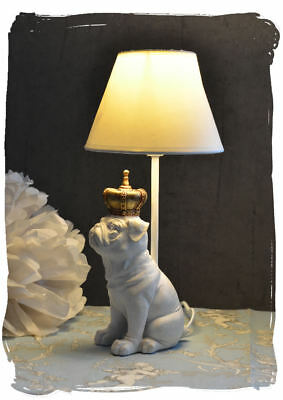lampe hundefigur tischlampe shabby chic leuchte dackel weiss tischleuchte picclick de. Black Bedroom Furniture Sets. Home Design Ideas