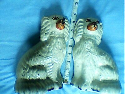 Pair Of Antique Staffordshire Flatback Spaniels Mantel-Hearth Wally Dugs.1850+
