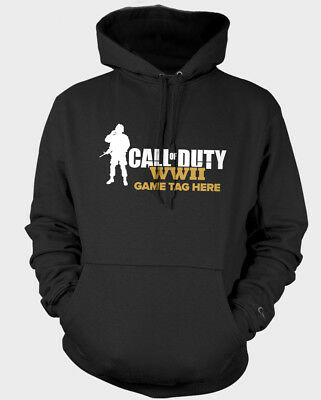 KIDS Personalised Gamertag Call Of Duty WWII 2 Unisex Gamer Hoodie Gift Xbox PS4