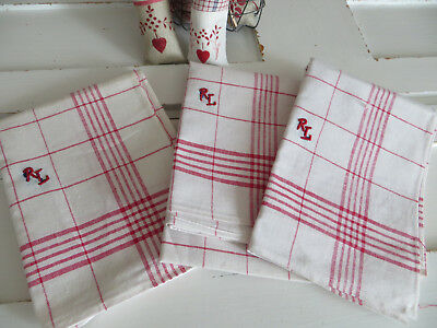 """Unused Set Of Three  ( 3) White  Linen Towels Red Stripes Mono RL 21""""by30"""""""