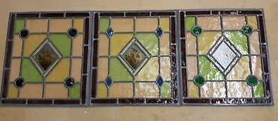 3 x Stained Glass Hand-Painted Flower Panels With Raised Faceted Jewels