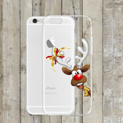 Christmas Festive Reindeer Clear Phone Case Cover For iPhone X 7 6 8 Samsung S8