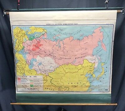 Nystrom Pull Down School Cloth Map USSR 1955 Russia Vintage Shabby Wall Display