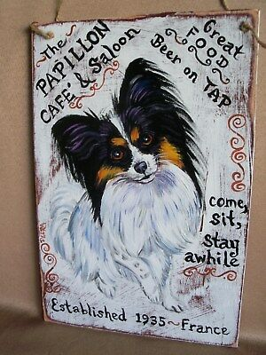 HP Papillon Tri CAFE' Saloon SIGN 2 paintings hand painted dog art double sided