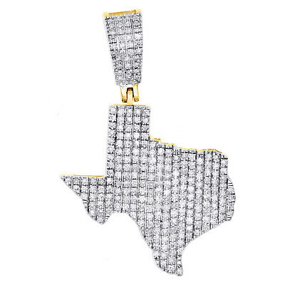 """10K Yellow Gold Diamond Texas Map Pendant 1.30"""" The Lone Star State Charm 1/2 CT"""