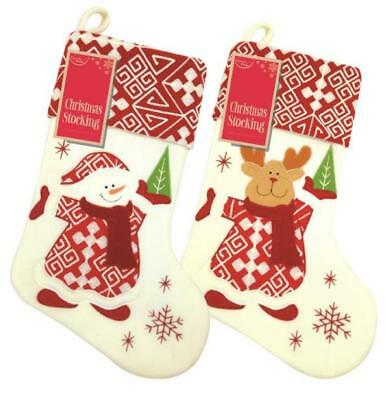 Personalised Deluxe Christmas Red White Snowman / Reindeer Stocking