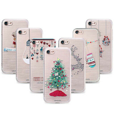 Christmas Ultra Slim Rubber Soft TPU Silicone Back Case Cover for iPhone X 8 7 6
