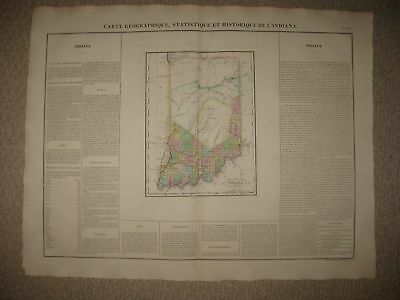 Huge Important Antique 1825 Indiana Carey & Lea Buchon Map Indian Frontier Rare