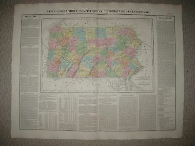 Lrg Folio Antique 1825 Pennsylvania Carey & Lea Buchon Map Philadelphia Delaware