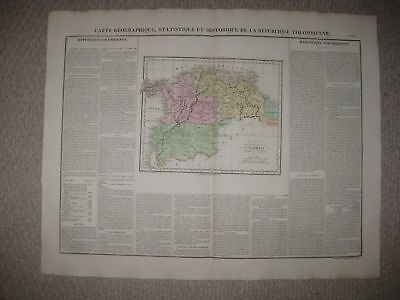 Huge Important Folio Size Antique 1825 Colombia South America Cary & Lea Map Nr