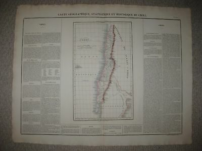 HUGE FOLIO SIZE ANTIQUE 1825 CHILI now CHILE SOUTH AMERICA CARY & LEA MAP RARE