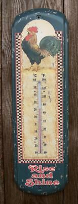 """Vtg Look 17"""" Rustic Indoor/Outdoor Rooster Wall Thermometer Sign - Kitchen Decor"""