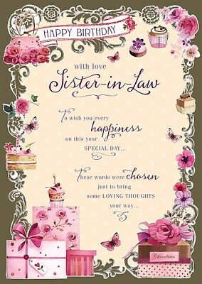 Sister In Law Cakes Flowers Present Design Happy Birthday Card