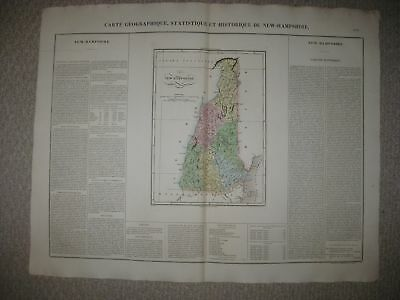 Huge Folio Antique 1825 New Hampshire Carey & Lea Buchon Handcolored Map Rare Nr