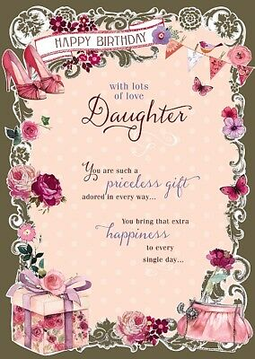 Daughter Shoes Flowers Presents Bag Design Happy Birthday Card Lovely Verse