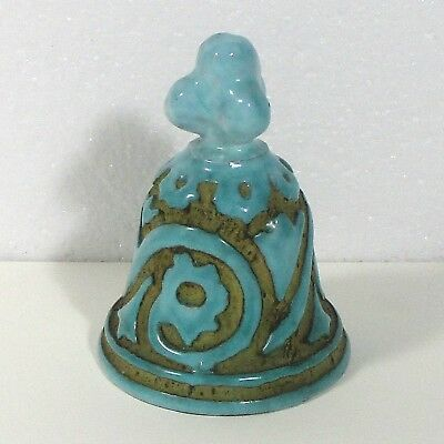 "Italy pottery blue bell hand made signed PV 3.6"" ᵂ u2"
