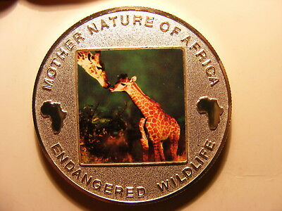 Malawi 10 Kwacha, 2004, Colorized, Silver Plated Proof, Giraffe with Baby