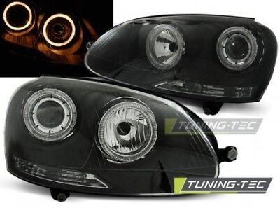 Coppia Fari Fanali Anteriori Tuning GOLF 5 10.03-09 ANGEL EYES Nero