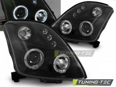 Coppia Set Fari Fanali Anteriori Tuning SUZUKI SWIFT 2005-2010 ANGEL EYES Nero