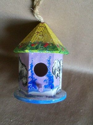 HP Old English Sheepdog Birdhouse Ornament hex painting hand painted dog ART OES