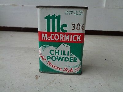 Vintage Mccormick Chili Powder Spice Tin Can Kitchen Advertising Graphic Sign