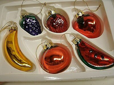 box of 6 Fruit Christmas ornaments: banana, grapes, apple, strawberry, Watermelo