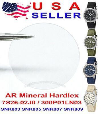 Mineral AR Crystal Glass for Seiko 5 7S26-02J0 SNK803 SNK805 SNK807 SNK809 More