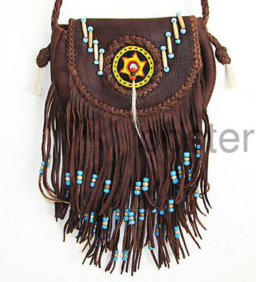SOUTHWEST AMERICAN INDIAN SADDLE BAG BROWN LEATHER PURSE Beads Hippie Fringe