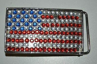 Flashy Women's USA United States of America Flag Sparkly Metal Belt Buckle