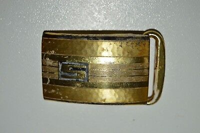 Vintage Mid Century HICKOK Slim Small Gold Plated Letter S Initials Belt Buckle
