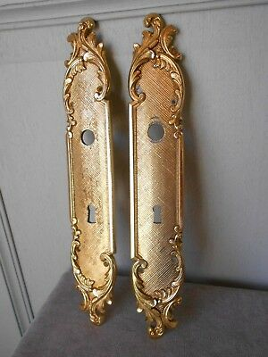 2 Vintage solid Brass CHATEAU Backplates PUSH Plates - LOUIS XV style -