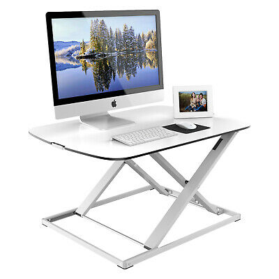 Super Slim Height Adjustable Sit-Stand Desk Compact Computer Workstation White