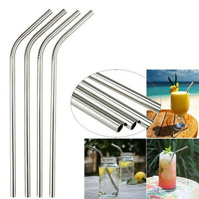 8pcs Reusable Stainless Steel Metal Drinking Straw Straws Bent Washable 3Brushes