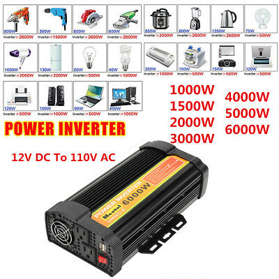 Solar Power Inverter Continue 1000-6000W 12V to 110 Modified Sine Wave Converter